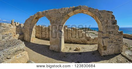 Panoramic view of the ruins and arches of the ancient Greek city Kourion (archaeological site) near Limassol, Cyprus