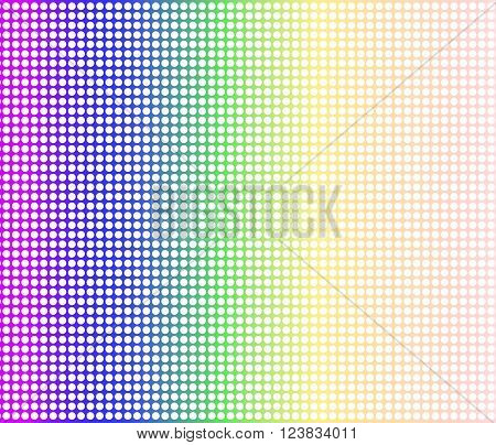 A rainbow dot matrix faded overlay over a white background
