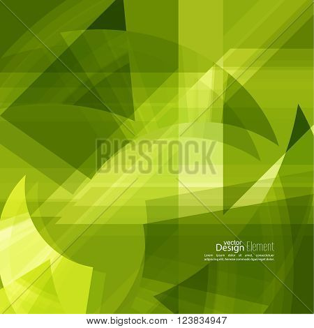 Abstract background with green chaotic stripes corner. Concept new technology and dynamic motion. Digital Data Visualization. For cover book, brochure, flyer, poster, magazine, booklet, leaflet