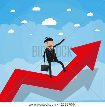 Cartoon happy businessman with breafcase standing on a graph soaring through the clouds and pointing his finger forward, Business Growth Concept. vector illustration in flat design.