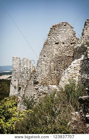 Cachtice castle ruins in summer, Slovak republic. Travel destination. Tourism theme.