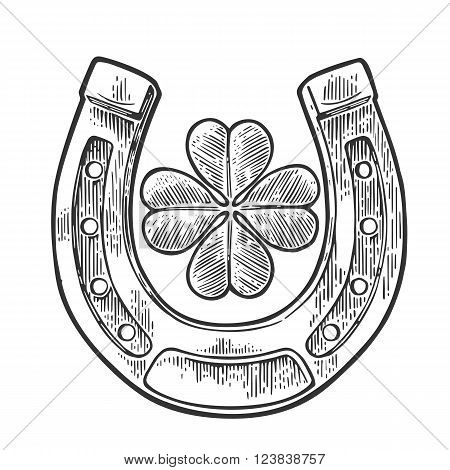 Good luck four leaf clover and horseshoe. Vintage vector engraving illustration for info graphic poster web. Black on white background.