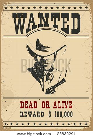 Wanted poster.Western vintage paper for design isolated on white