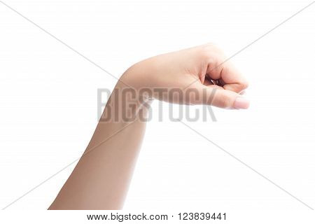 Woman Hand With Fist Gesture Isolated On White With Clipping Path Included