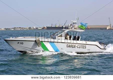 GULF OF ADEN, REPUBLIC OF DJIBOUTI - FEBRUARY 08, 2016: Djiboutian Coast Guards patrol in the port harbor