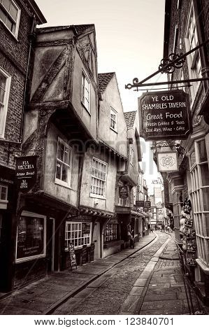 THE SHAMBLES, YORK, UK - CIRCA MARCH, 2016. A view of The Shambles in York, England which is a medieval, cobbled street in the centre of an historic city.