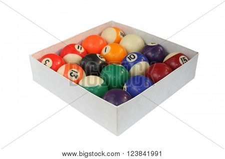 pool balls in carton box isolated over white background