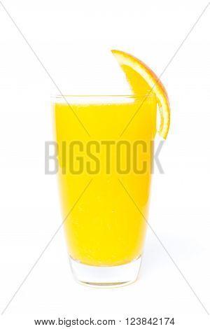 Navel orange juice and slices of orange isolated on white background