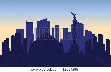 silhouette of mexico city with blue bakcground