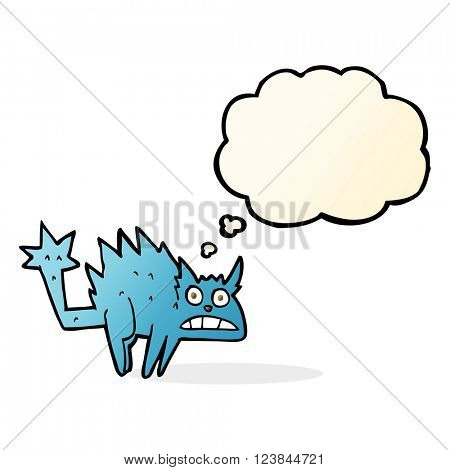 cartoon frightened cat with thought bubble poster