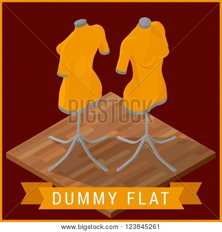 Dummy flat isometric vector icon. Mannequin Icon Flat illustration. Blank dressmakers model isometric picture. Manikin flat vector sign.
