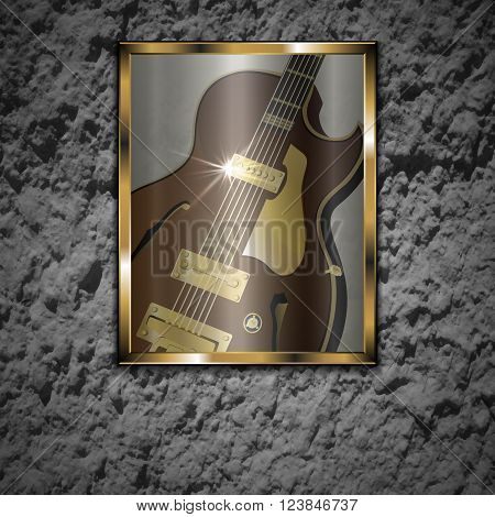 Vector illustration of a stone wall with a picture of a glass of jazz guitar in a gold frame. The image is well compatible with any text anywhere.