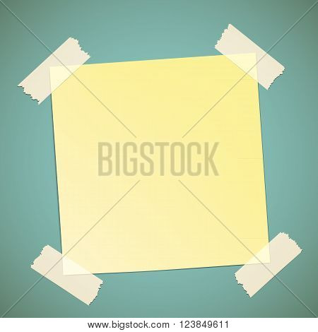 Yellow sticker pasted to the wall with adhesive tape. Stock vector illustration