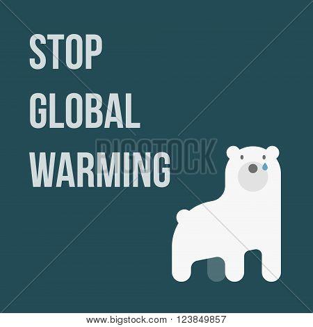 illustration of polar bear showing global warming, Stop Global Warming