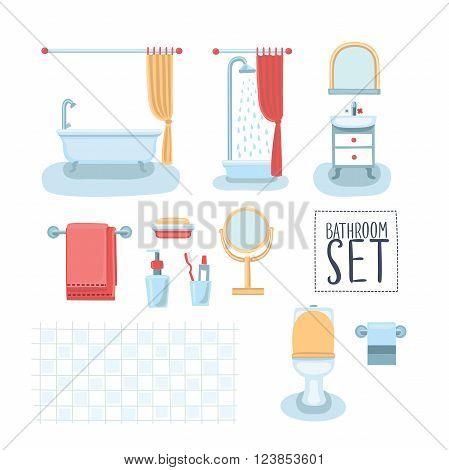 Vector set of cute illustration of element bathroom interior