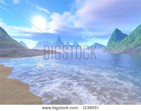 Stock Illustration Of Rainy Lagoon
