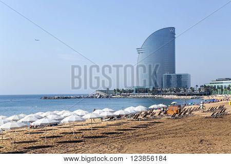 SPAIN, BARCELONA, JUNE, 27, 2015 - Barcelonetta beach of early morning in Barcelona, Spain