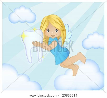 Adorable cartoon illustration of a magic tooth fairy flying in the sky between cluds with the tooth