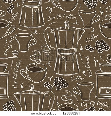 Brown seamless patterns with coffee set. Ideal for printing onto fabric and paper or scrap booking.