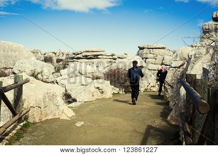 Visitors in El Torcal of Antequera park.