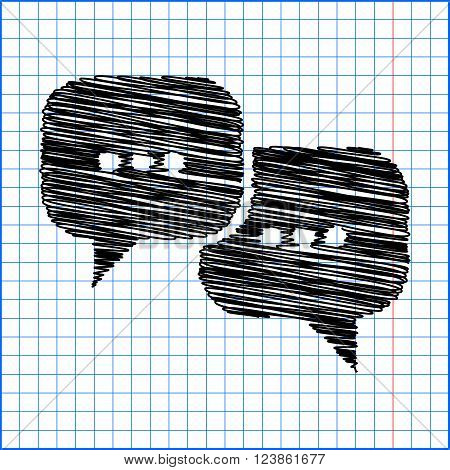 Speach bubles icon with pen effect on paper.