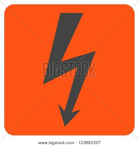 High Voltage vector icon. Image style is bicolor flat high voltage pictogram symbol drawn on a rounded square with orange and gray colors.