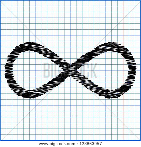 Limitless symbol icon with pen effect on paper.