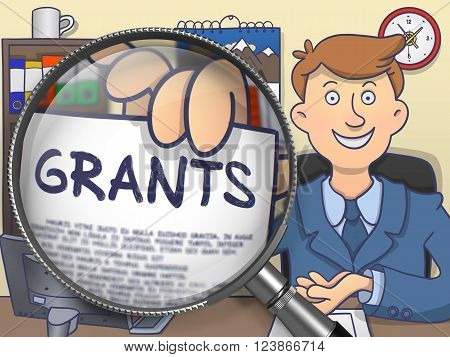 Officeman Holds Out a Paper with Inscription Grants. Closeup View through Magnifying Glass. Colored Doodle Style Illustration.