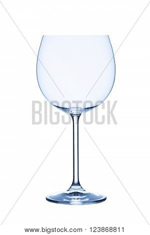 Red wine glas empty on white background isolated