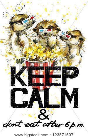 Keep Calm. Keep Calm and do not eat after 6 p.m. Keep Calm Tee shirt design. Meerkats watercolor illustration. Meerkats. Popcorn. Handwritten text. Keep Calm Tee shirt print.