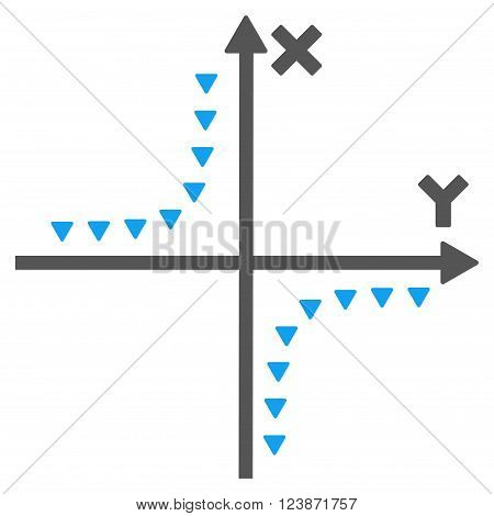Dotted Hyperbola Plot vector icon. Style is bicolor flat icon symbol blue and gray colors white background triangle dots.