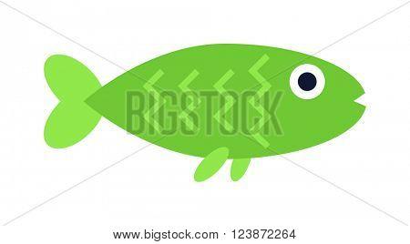 Underwater aquarium green fish and marine aquarium green fish. Tropical wildlife aquarium fish, colorful ocean green exotic fish. Green aquatic fish wildlife aquarium underwater nature animal vector.