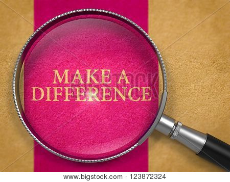 Make a Difference through Lens on Old Paper with Lilac Vertical Line Background. 3D Render.