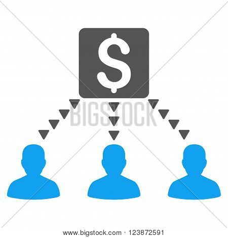 Money Recipients vector icon. Style is bicolor flat icon symbol blue and gray colors white background triangle dots.