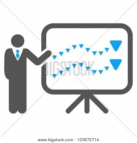 Trends Presentation vector icon. Style is bicolor flat icon symbol blue and gray colors white background triangle dots.