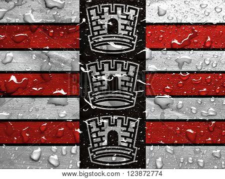 flag of Joao Pessoa with rain drops