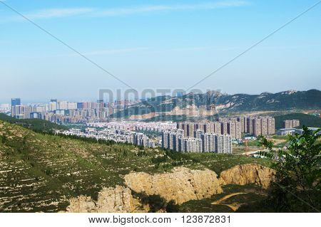 City Blue sky view on the mountaintop