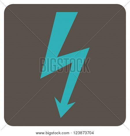 High Voltage vector icon symbol. Image style is bicolor flat high voltage iconic symbol drawn on a rounded square with grey and cyan colors.