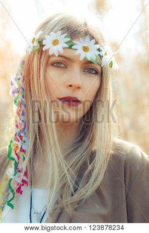 hippie girl with flower headband vintage image