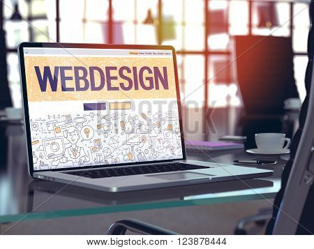 Webdesign Concept - Closeup on Landing Page of Laptop Screen in Modern Office Workplace. Toned Image with Selective Focus. 3D Render.