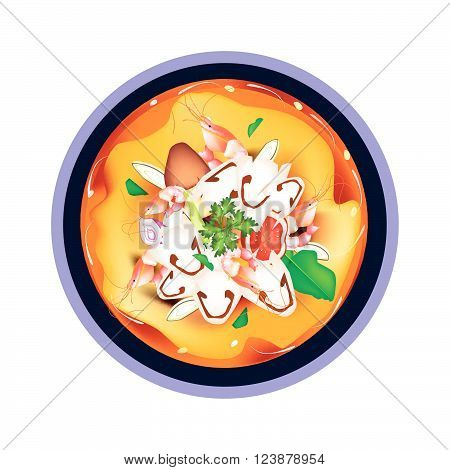 Thai Cuisine, Tom Yum Goong or Thai Spicy and Sour Soup with Shrimps, Mushroom, Coconut Milk and Herbs. One of The Most Famous Thai Recipes in The World.