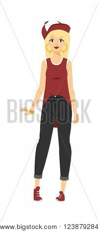 Young beautiful chubby rap girl in jeans with red lips and a red baseball cap style R&B character vector.