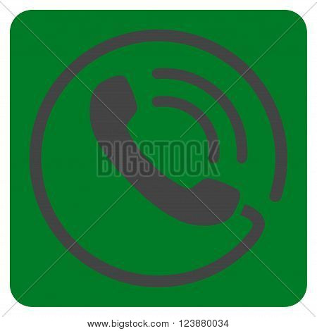 Phone Call vector pictogram. Image style is bicolor flat phone call pictogram symbol drawn on a rounded square with green and gray colors.