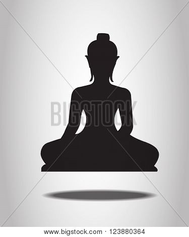 Buddha Silhouettes isolated on the white background
