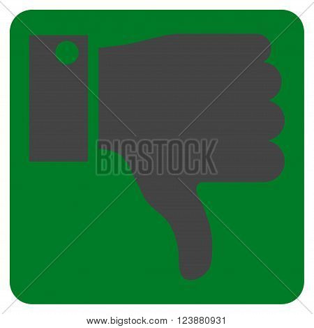 Thumb Down vector icon. Image style is bicolor flat thumb down icon symbol drawn on a rounded square with green and gray colors.