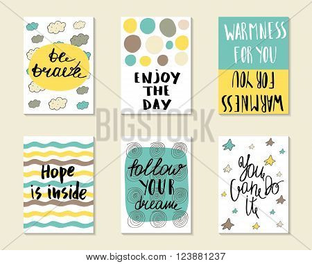 Cute hand drawn doodle postcards cards covers with different elements and quots including be brave enjoy the day hope is inside follow your dream you can do it. Printable templates set