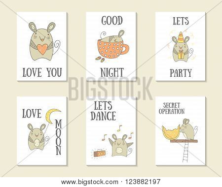 Cute hand drawn doodle cards brochures covers with mouse with gift mouse with heart mouse with moon mouse with cheese sleeping mouse dancing mouse. Printable templates