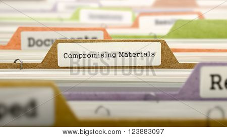 Compromising Materials Concept on File Label in Multicolor Card Index. Closeup View. Selective Focus. 3D Render.