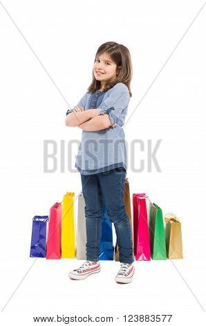 Adorable cute young and satisfied shopping girl on white background