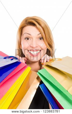 Enthusiastic Shopping Woman Smiling